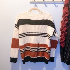 Long sleeve crew neck striped color block sweater